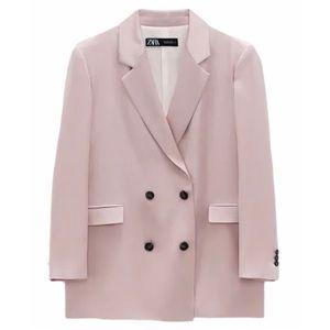 NEW Zara Satin Effect Double Breasted Blazer Blush